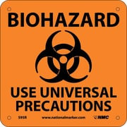 Biohazard Use Universal Precautions (W/ Graphic), 7X7, Rigid Plastic