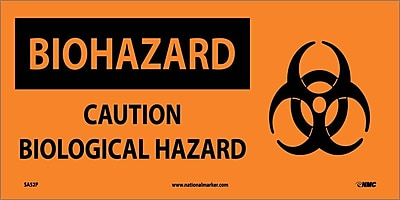 Biohazard, Caution Biological Hazard (W/ Graphic), 7X17, Adhesive Vinyl