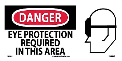 Danger, Eye Protection Required In This Area (W/ Graphic), 7X17, Adhesive Vinyl