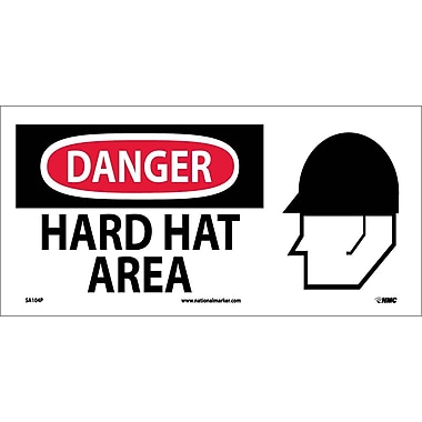 Danger, Hard Hat Area (W/ Graphic), 7X17, Adhesive Vinyl
