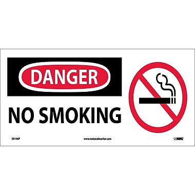 Danger, No Smoking (W/ Graphic), 7X17, Adhesive Vinyl