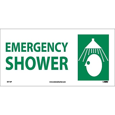 Emergency Shower (W/ Graphic), 7X17, Adhesive Vinyl