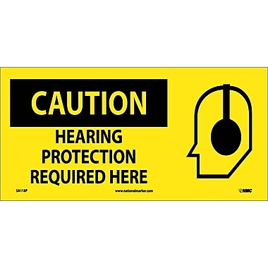Caution, Hearing Protection Required Here (W/ Graphic), 7X17, Adhesive Vinyl
