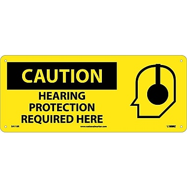 Caution, Hearing Protection Required Here (W/Graphic), 7X17, Rigid Plastic