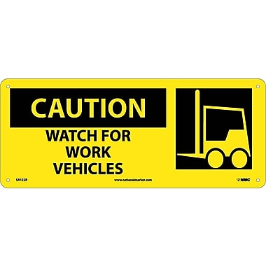 Caution, Watch For Work Vehicles (W/Graphic), 7X17, Rigid Plastic