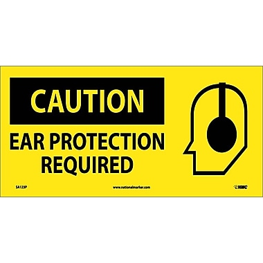 Caution, Ear Protection Required (W/ Graphic), 7X17, Adhesive Vinyl