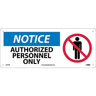 Notice, Authorized Personnel Only (W/Graphic), 7X17, Rigid Plastic