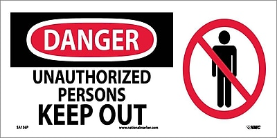 Danger, Unauthorized Persons Keep Out (W/ Graphic), 7X17, Adhesive Vinyl