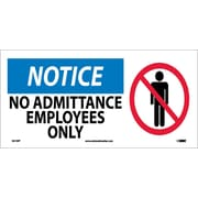 Notice, No Admittance Employees Only (W/ Graphic), 7X17, Adhesive Vinyl