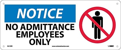 Notice, No Admittance Employees Only (W/Graphic), 7X17, Rigid Plastic