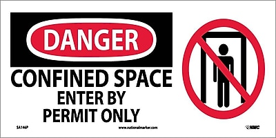 Danger, Confined Space Enter By Permit Only (W/ Graphic), 7X17, Adhesive Vinyl