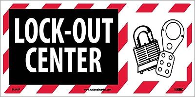 Lock Out Center (W/ Graphic), 7X17, Adhesive Vinyl