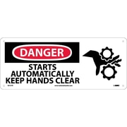 Danger, Starts Automatically Keep Hands Clear (W/Graphic), 7X17, Rigid Plastic
