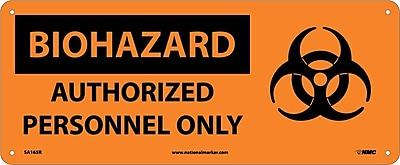 Biohazard, Authorized Personnel Only (W/Graphic), 7X17, Rigid Plastic