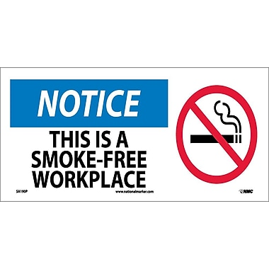 Notice, This Is A Smoke-Free Workplace (W/ Graphic), 7X17, Adhesive Vinyl