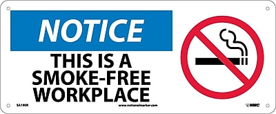 Notice, This Is A Smoke-Free Workplace (W/Graphic), 7X17, Rigid Plastic