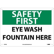Safety First, Eye Wash Fountain Here, 10X14, Rigid Plastic