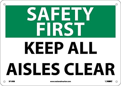 Safety First, Keep All Aisles Clear, 10X14, Rigid Plastic