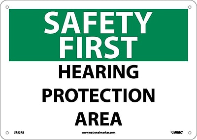 Safety First, Hearing Protection Area, 10X14, Rigid Plastic
