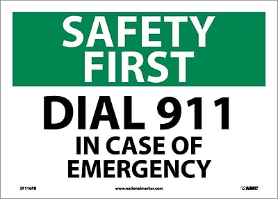 Safety First, Dial 911, 10X14, Adhesive Vinyl