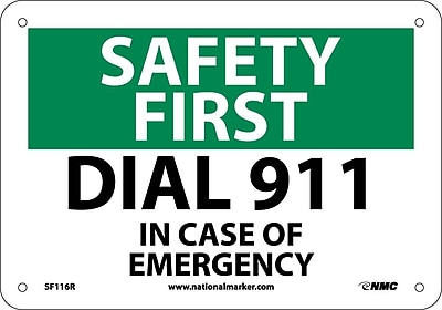 Safety First, Dial 911, 7X10, Rigid Plastic