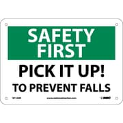 Safety First, Pick It Up! To Prevent Falls, 7X10, Rigid Plastic