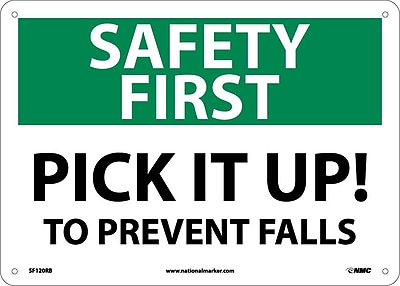 Safety First, Pick It Up! To Prevent Falls, 10X14, Rigid Plastic
