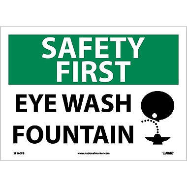 Pancarte Safety First, Eye Wash Fountain avec dessin, 10 x 14 po, vinyle adhésif