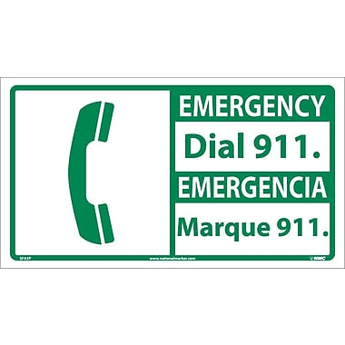 Emergency, Dial 911 (Bilingual W/Graphic), 10X18, Adhesive Vinyl