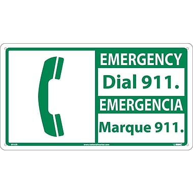 Safety First, 10 X 18 Emergency Dial 911/Emergencia (Bilingual W/Graphic), 10X18, Rigid Plastic