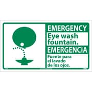 Emergency, Eye Wash Fountain (Bilingual W/Graphic), 10X18, Adhesive Vinyl