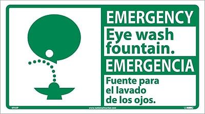 Emergency, Eye Wash Fountain (Bilingual W/Graphic), 10X18, Adhesive Vinyl