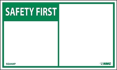 Safety First, Blank, 3X5, Adhesive Vinyl, 5/Pk