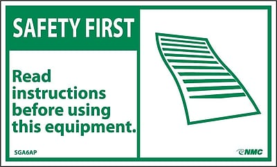 Safety First, Read Instructions Before Using This Equipment, 3X5, Adhesive Vinyl, 5/Pk