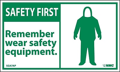 Safety First, Remember Wear Safety Equipment, 3X5, Adhesive Vinyl, 5/Pk