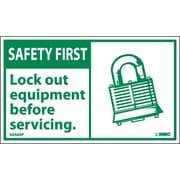 Safety First, Lockout Equipment Before Servicing, 3X5, Adhesive Vinyl, 5/Pk