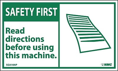 Safety First, Read Directions Before Using This Machine, 3X5, Adhesive Vinyl, 5/Pk