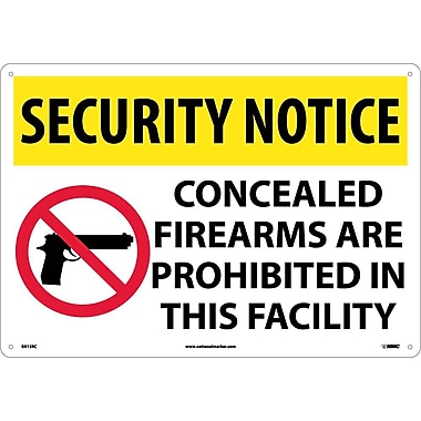 Security Notice, Concealed Firearms Are Prohibited In This Facility, 14X20, Rigid Plastic