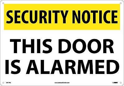 Security Notice, This Door Is Alarmed, 14X20, Rigid Plastic
