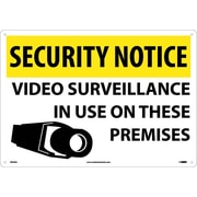 Panneau de sécurité Security notice, Video surveillance in use on these premises, 14 x 20 po, aluminium de 0,04 po