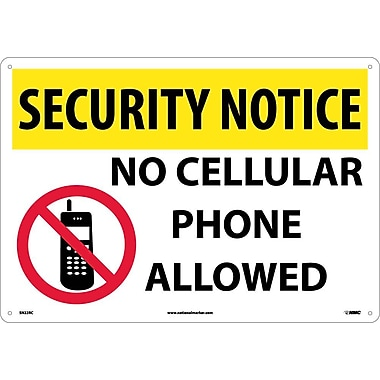 Security Notice, No Cellular Phones Allowed, Graphic, 14X20, Rigid Plastic