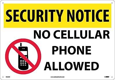 Security Notice, No Cellular Phones Allowed, Graphic, 14X20, Rigid Plastic