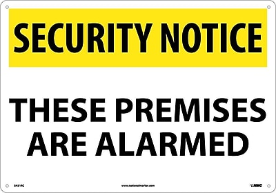 Security Notice, These Premises Are Alarmed, 14X20, Rigid Plastic