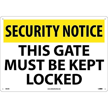 Security Notice, This Gate Must Be Kept Locked, 14X20, Rigid Plastic