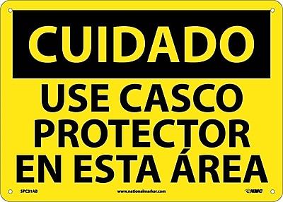 Cuidado, Casco Requerido En Esta Area, 10X14, .040 Aluminum