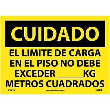 Cuidado, El Limite De Carga En El Piso No Debe Exceder __Kg Metros Cuadrados, 10X14, Adhesive Vinyl