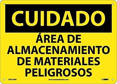 Cuidado, Area De Almacenamiento De Materiales Peligrosos, 10X14, .040 Aluminum
