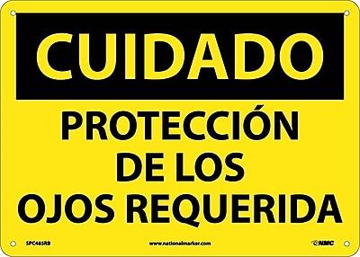 Cuidado, Proteccion De Los Ojos Requerida, 10X14, Rigid Plastic