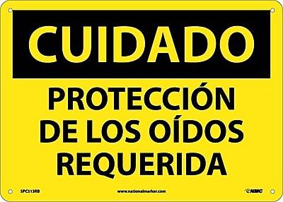 Cuidado, Proteccion De Los Oidos Requerida, 10X14, Rigid Plastic