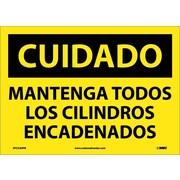 Cuidado, Mantenga Todos Los Cilindros Encadenados, 10X14, Adhesive Vinyl